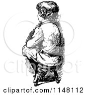 Clipart Of A Retro Vintage Black And White Boy Sitting On A Stool Royalty Free Vector Illustration