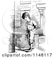 Clipart Of A Retro Vintage Black And White Boy Carrying A Fiddle Royalty Free Vector Illustration