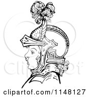 Clipart Of A Retro Vintage Black And White Boy In Knights Armour Royalty Free Vector Illustration