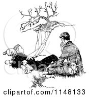 Clipart Of A Retro Vintage Black And White Pupy And Two Men Resting By A Cliff Royalty Free Vector Illustration