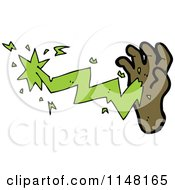Cartoon Of A Hand Casating A Magic Spell From Its Palm Royalty Free Vector Clipart