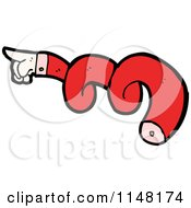 Cartoon Of A Pointing Hand And Twisted Red Arm Royalty Free Vector Clipart