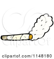 Cartoon Of A Smoking Rolled Cigarette Royalty Free Vector Clipart