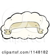 Cartoon Of A Tan Banner Over A Cloud Royalty Free Vector Clipart by lineartestpilot