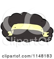Cartoon Of A Yellow Banner Over A Black Cloud Royalty Free Vector Clipart