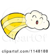Cartoon Of A Happy Cloud And Trail Royalty Free Vector Clipart by lineartestpilot