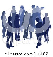 Blue Group Of Silhouetted People Hanging Out In A Crowd Two Friends Embracing In The Middle Clipart Illustration