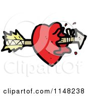 Cartoon Of A Heart Being Shot With An Arrow Royalty Free Vector Clipart