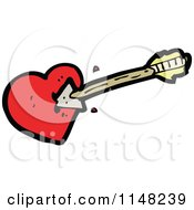 Cartoon Of A Heart Being Shot With An Arrow Royalty Free Vector Clipart by lineartestpilot