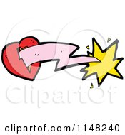Cartoon Of A Heart With A Lightning Bolt Royalty Free Vector Clipart by lineartestpilot