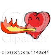 Cartoon Of A Heart Breathing Flames Royalty Free Vector Clipart