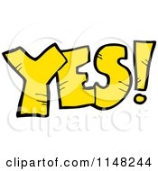 Cartoon Of The Word Yes Royalty Free Vector Clipart by lineartestpilot