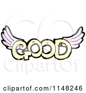 Cartoon Of The Word Good With Wings Royalty Free Vector Clipart by lineartestpilot