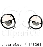 Cartoon Of A Pair Of Tired Eyes Royalty Free Vector Clipart by lineartestpilot