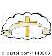 Cartoon Of A Cross And Banner Over A White Cloud Royalty Free Vector Clipart by lineartestpilot