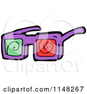 Cartoon Of A Pair Of 3d Movie Glasses Royalty Free Vector Clipart by lineartestpilot