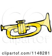 Cartoon Of A Trumpet Royalty Free Vector Clipart by lineartestpilot