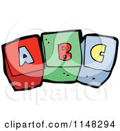 Cartoon Of Alphabet Letter Blocks Spelling ABC Royalty Free Vector Clipart