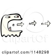 Cartoon Of A Ghost Eating Arrows Royalty Free Vector Clipart by lineartestpilot