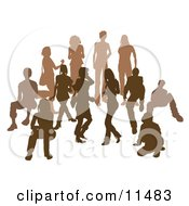 Brown Group Of Silhouetted People In A Crowd Clipart Illustration