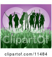 Green Group Of Silhouetted Women Raising Their Arms And Celebrating On Stage At A Concert Clipart Illustration