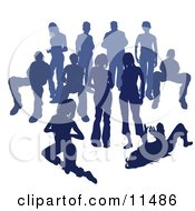 Crowd Of Blue Silhouetted People Clipart Illustration
