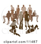 Crowd Of Brown Silhouetted People Clipart Illustration