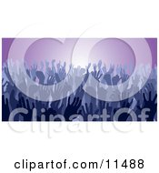 Blue Group Of Silhouetted Hands In A Crowd Clipart Illustration