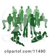 Crowd Of Green Silhouetted People Clipart Illustration