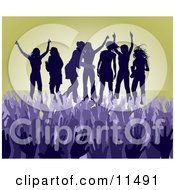 Purple Group Of Silhouetted Women Raising Their Arms And Celebrating On Stage At A Concert Clipart Illustration