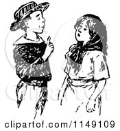 Clipart Of A Retro Vintage Black And White Smart Boy Talking To A Girl Royalty Free Vector Illustration