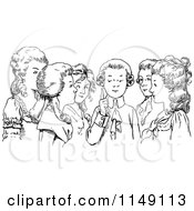 Clipart Of A Retro Vintage Black And White Boy Chatting With Girls Royalty Free Vector Illustration
