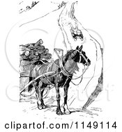Clipart Of A Retro Vintage Black And White Boy Sledding Toward A Horse Royalty Free Vector Illustration