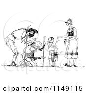 Clipart Of A Retro Vintage Black And White Woman Giving Alms To The Poor Royalty Free Vector Illustration