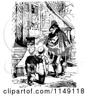 Clipart Of A Retro Vintage Black And White Man Playing A Fiddle For Boys Royalty Free Vector Illustration