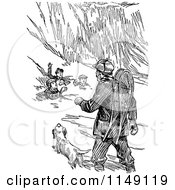 Clipart Of A Retro Vintage Black And White Man And Dog Helping Boys Caught In An Avalanche Royalty Free Vector Illustration by Prawny Vintage