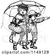 Clipart Of Retro Vintage Black And White Children With An Umbrella 2 Royalty Free Vector Illustration by Prawny Vintage