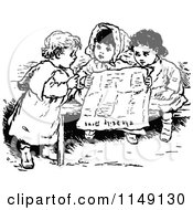 Clipart Of Retro Vintage Black And White Children Reading A Newspaper Royalty Free Vector Illustration by Prawny Vintage