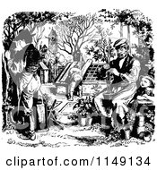 Clipart Of A Retro Vintage Black And White Girl Watching Gardeners Royalty Free Vector Illustration by Prawny Vintage