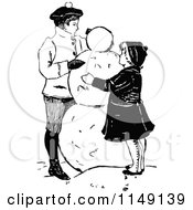 Clipart Of Retro Vintage Black And White Children Making A Snowman Royalty Free Vector Illustration by Prawny Vintage