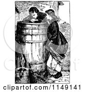 Clipart Of Retro Vintage Black And White Children Peering Into A Barrel Royalty Free Vector Illustration by Prawny Vintage