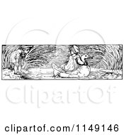 Clipart Of A Retro Vintage Black And White Border Of A Boy Watching A Girl Ride A Swan Royalty Free Vector Illustration