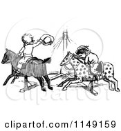 Clipart Of Retro Vintage Black And White Kids On A Carousel Ride Royalty Free Vector Illustration