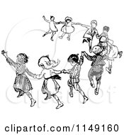 Clipart Of Retro Vintage Black And White Dancing Children Royalty Free Vector Illustration by Prawny Vintage #COLLC1149160-0178