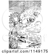 Clipart Of Retro Vintage Black And White Boys And Rolling Pumpkins Royalty Free Vector Illustration