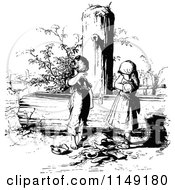 Clipart Of A Retro Vintage Black And White Sad Children With A Broken Pot At A Water Pump Royalty Free Vector Illustration