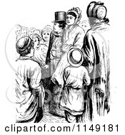 Clipart Of A Retro Vintage Black And White Crowd Of People Royalty Free Vector Illustration