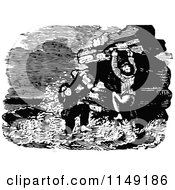 Clipart Of Retro Vintage Black And White Children Caught In High Tide Royalty Free Vector Illustration