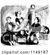 Clipart Of Retro Vintage Black And White Children Eating From A Pot Royalty Free Vector Illustration