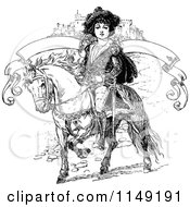 Clipart Of A Retro Vintage Black And White Boy On A Pony With A Castle And Banner Royalty Free Vector Illustration by Prawny Vintage